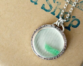 CLEARANCE - Green and Clear Ohajiki Sea Glass Pendant
