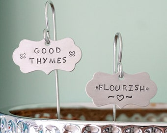 CLEARANCE Hand Stamped Hanging Aluminum Plant Marker