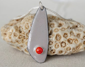 Red Aura Opal on Light Grey Enamel Pendant