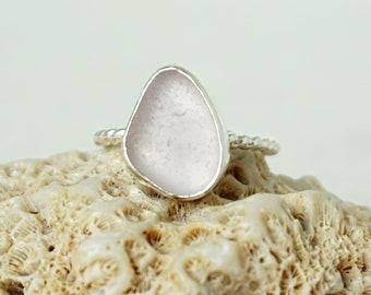 Light Lavender Sea Glass Stacking Ring, Size 9 1/2