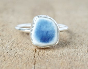 Blue and White Sea Pottery Stacking Ring, Size 7 1/2