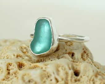 Teal Green Sea Glass Stacking Ring, Size 6 1/4