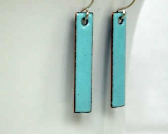 Robin's Egg Blue Enamel Bar Earrings