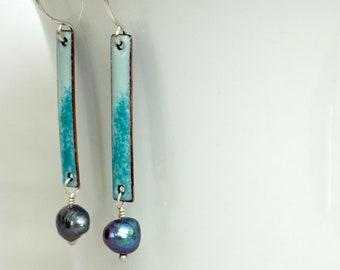Seafoam Green Enamel and Grey Pearl Earrings