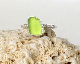Lime Green Sea Glass Stacking Ring, Size 7 1/2