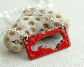 Red North Carolina Enamel Cutout Bar Necklace