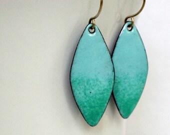 Robin's Egg Blue and Seafoam Green Enamel Diamond Earrings
