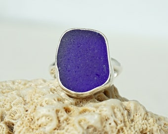 Cobalt Blue Sea Glass Ring, Size 8 3/4