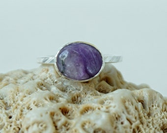 RESERVED Charolite Stacking Ring, Size 6 1/4