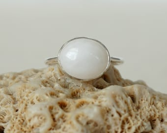 White Quartz Stacking Ring, Size 8 1/2