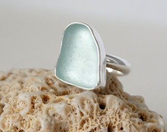 Soft Aqua Blue Sea Glass Ring, Size 9