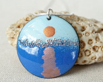 Sunrise - Light Blue and Cobalt Blue Enamel Pendant