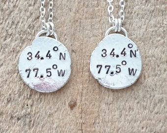 CLEARANCE - Topsail Island, NC Coordinates Necklace - Hand Stamped on Recycled Sterling Silver