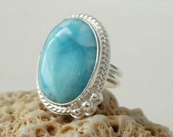 Larimar Oval Statement Ring, Size 8 3/4
