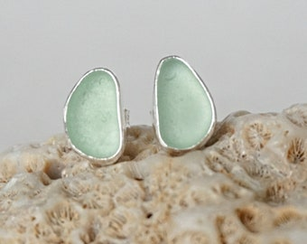 Seafoam Green Sea Glass Stud Earrings