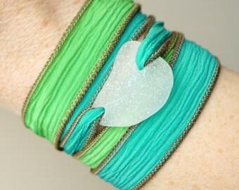 Clear Sea Glass on Green Silk Wrap Bracelet