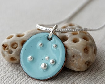 Robin's Egg Blue Enamel and Fine Silver Necklace