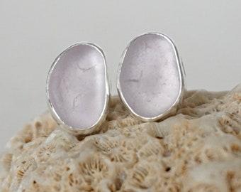 Light Lavender Sea Glass Stud Earrings