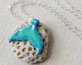 Cobalt Blue on Mint Green Enamel Mermail Tail Necklace