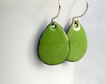 Pea Green Enamel Teardrop Earrings