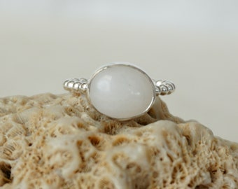 White Quartz Stacking Ring, Size 6 1/2