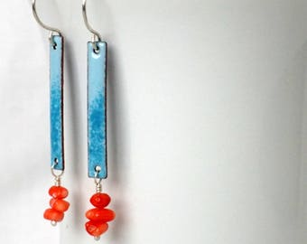 Teal on Light Blue Enamel and Coral Earrings
