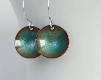 Teal Green Enamel Disc Earrings