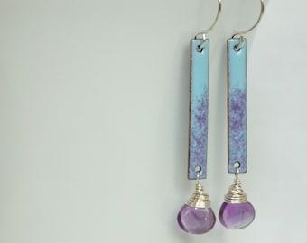 Light Blue and Purple Enamel and Amethyst Earrings