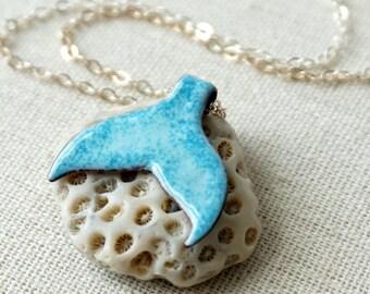 Teal on Light Blue Enamel Mermail Tail Necklace