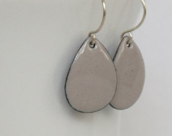 Light Gray Enamel Teardrop Earrings