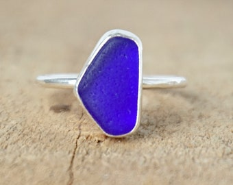 Cobalt Blue Sea Glass Stacking Ring, Size 8