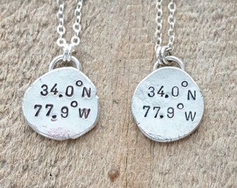 CLEARANCE - Carolina Beach, NC Coordinates Necklace - Hand Stamped on Recycled Sterling Silver