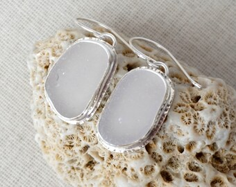 Light Lavender Sea Glass Drop Earrings