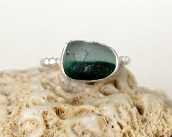Gree and Clear English Multi Sea Glass Stacking Ring, Size 6 1/2