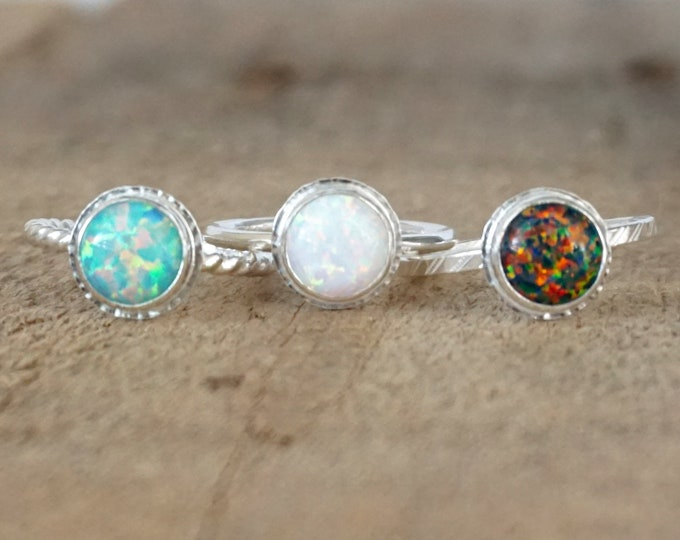 Featured listing image: Choose Your Size and Band - Cultured Aura Opal Stacking Ring