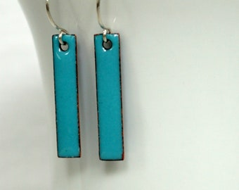 Light Teal Green Enamel Bar Earrings