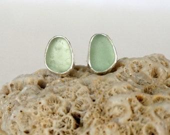 Seafoam Green Sea Glass Stud Earrings