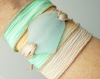 Soft Aqua Blue Sea Glass on Coral, Seafoam, and Tan Silk Wrap Bracelet