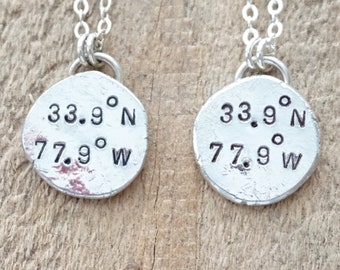 CLEARANCE - Kure Beach, NC Coordinates Necklace - Hand Stamped on Recycled Sterling Silver
