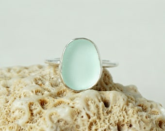 Soft Aqua Blue Sea Glass Stacking Ring, Size 9