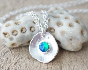 Cobalt Blue Aura Opal on Fine Silver Pendant
