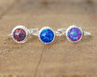 Choose Your Size and Band - Cultured Aura Opal Stacking Ring