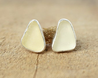 Pale Pastel Yellow Sea Glass Stud Earrings