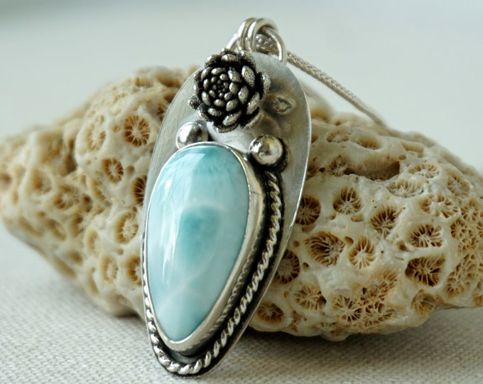 Featured listing image: Larimar and Sterling Silver Flower Pendant