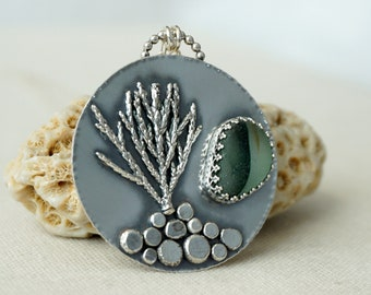 Green and Clear English Multi Sea Glass and Coral Pendant
