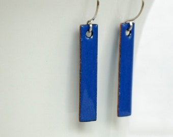 Cobalt Blue Enamel Bar Earrings