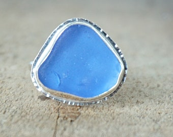 Cornflower Blue Sea Glass Ring, Size 9