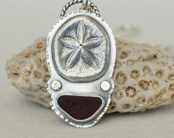 Red Sea Glass and Sand Dollar Pendant
