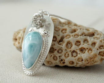 Larimar and Sterling Silver Flower Pendant