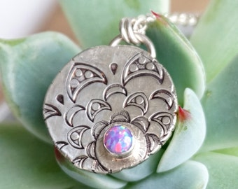Purple Aura Opal on Handstamped Mandala Silver Pendant